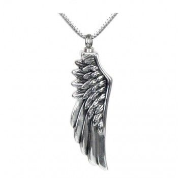 """The Angel Wing Ash Pendant is a stainless steel pendant and comes with an 18"""" stainless steel box chain. This beautiful keepsake will hold a pinch of cremains, a small amount of hair or crushed flowers."""