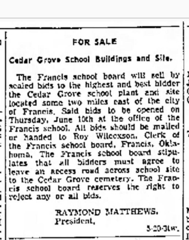 Cedar grove school for sale francis oklahoma school