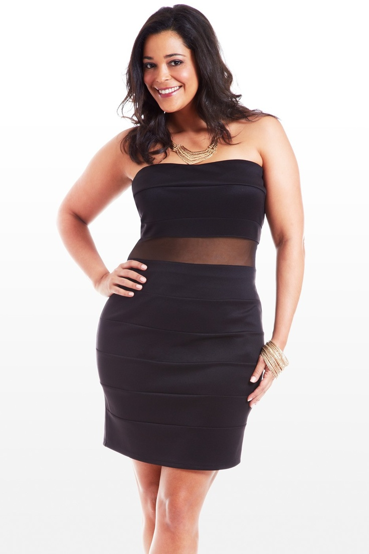 """Say """"yes"""" to all those party invites just to show off this flattering, hourglass-loving dress. Strapless design features seamed segments that run top to bottom, and include a sultry mesh cutout band at the waist. Try a sleek chain necklace, bangles, and shiny heels, and you'll be the party's main event."""