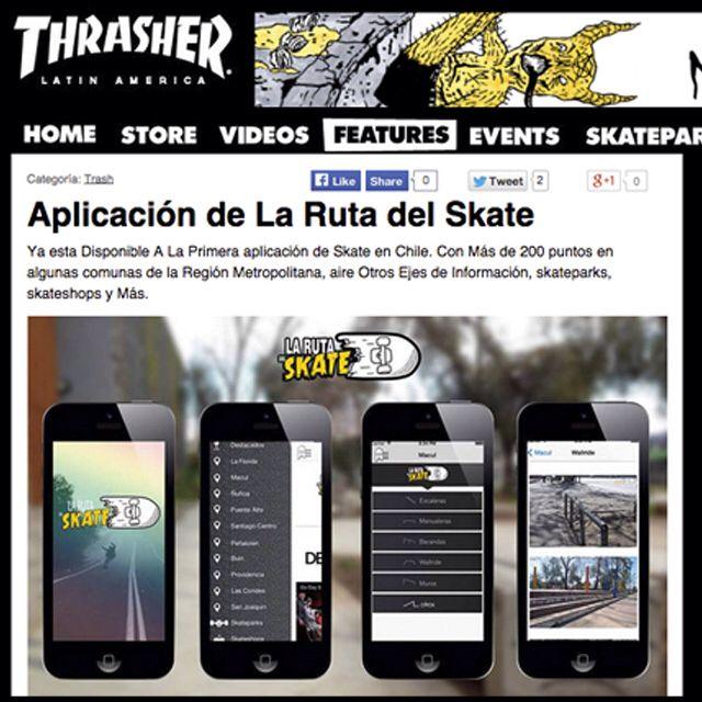 Noticia de la aplicación de LA RUTA DEL SKATE por THRASHER MAGAZINE, los mejores spots de Chile en un solo lugar / New of the app RUTA DEL SKATE by THRASHER MAGAZINE, the best spot of Chile in one place  #thrasher #thrashermag #thrashermagazine #larutadelskate #appskate #appspot #spot #skate #skatelife #chile