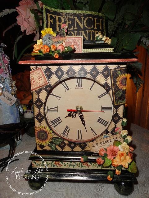 altered Clock 1 by Angela Holts Design, via Flick New @Anna Totten Totten Totten Totten Nadal 45® paper collection French Country  http://www.angelaholtdesigns.com Shop: http://shopangelaholtdesigns.com
