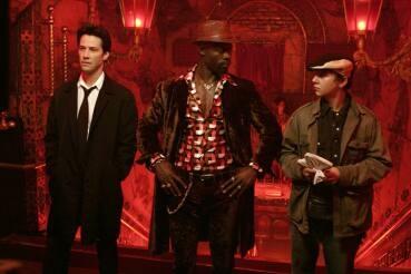 Keanu Reeves as Constatine, Djimon Honsou as Papa Midnite, and Shia LaBeouf as Chas