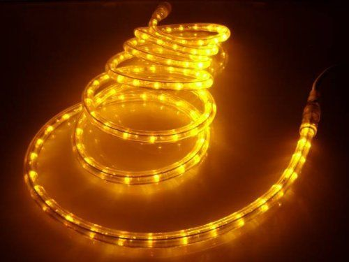 """10Ft Rope Lights; Brilliant Amber LED Rope Light Kit; 1.0"""" LED Spacing; Christmas Lighting; outdoor rope lighting; Candle Flame Color by ORANGE TREE TRADE. $18.56. 120 Brilliant Amber LEDs; 1 INCH LED SPACING, 10ft, 3/8 inch diameter, Voltage: 120V, Life Hours: 100,000Hr, Ready to use; just plug in to light. Peak wavelength of 585nm. THIS COLOR ONLY AVAILABLE ON ORANGE TREE TRADE. The set is designed for low maintenance operation; LED lamp life is approximately 30 tim..."""