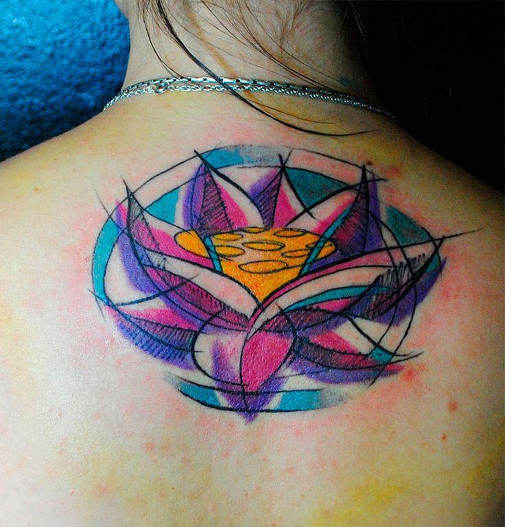 Loto, Lotus, tattoo, color, by Niko Ortega, Argentina