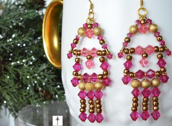 Handmade Swarovski Chandelier Hot Pink Bicones Earrings by BYTWINS