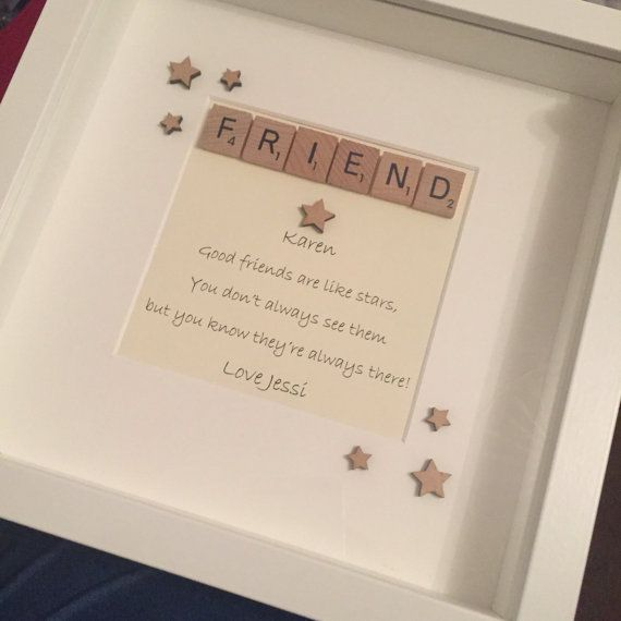 Friends are like stars scrabble frame can be personalised