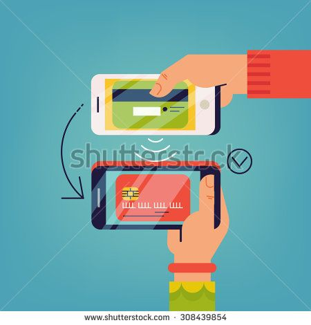 Cool vector contactless direct person to person payment using smart phone application and bank account credit card data | Concept design on people using their phones as electronic wallets - stock vector