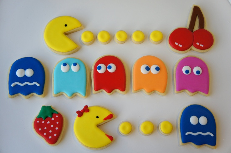 Pac-Man and Ms Pac-Man sugar cookies. I MUST make these!!!