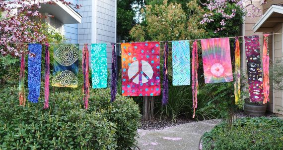 Colorful 10 Foot Prayer Flag Boho Festival Flag by RainieGarden