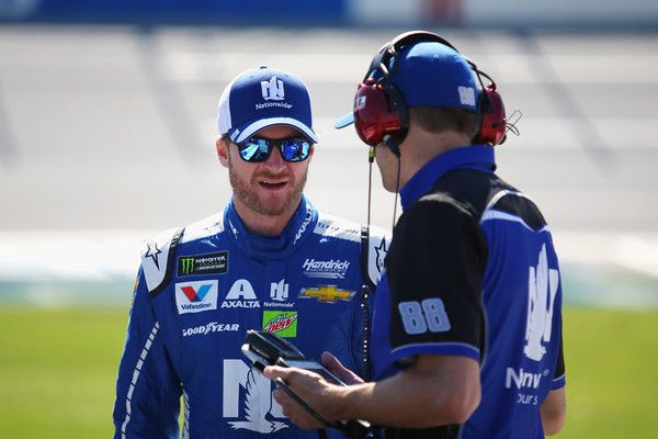 Dale Earnhardt Jr. Photos Photos - Dale Earnhardt Jr., driver of the #88 Nationwide Chevrolet, talks to crew chief Greg Ives on the grid during qualifying for the Monster Energy NASCAR Cup Series GEICO 500 at Talladega Superspeedway on May 6, 2017 in Talladega, Alabama. - Talladega Superspeedway - Day 2