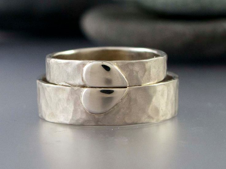 Solid Gold Heart Wedding Rings - 4mm and 6mm wide rings in 14k White and Yellow Gold - Handmade Wedding Band Set. $1,050.00, via Etsy.