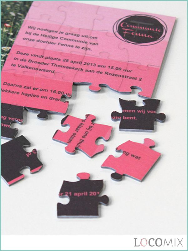 Ben je nog op zoek naar een originele Communie uitnodiging? Een originele manier om de datum van de grote en bijzondere dag bekend te maken is door middel van deze Communie Puzzel. De gasten moeten namelijk zelf eerst de uitnodiging in elkaar puzzelen. Deze Puzzel is geheel te personaliseren op LocoMix.nl.
