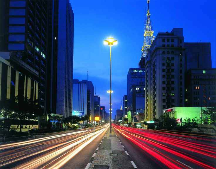 Paulista Avenue by night. The most important street in Sao Paulo. Walk to explore. Must go!