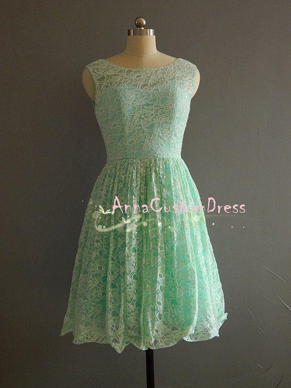 Short MInt Lace Bridesmaid Dress/Custom Vback by AnnaCustomDress