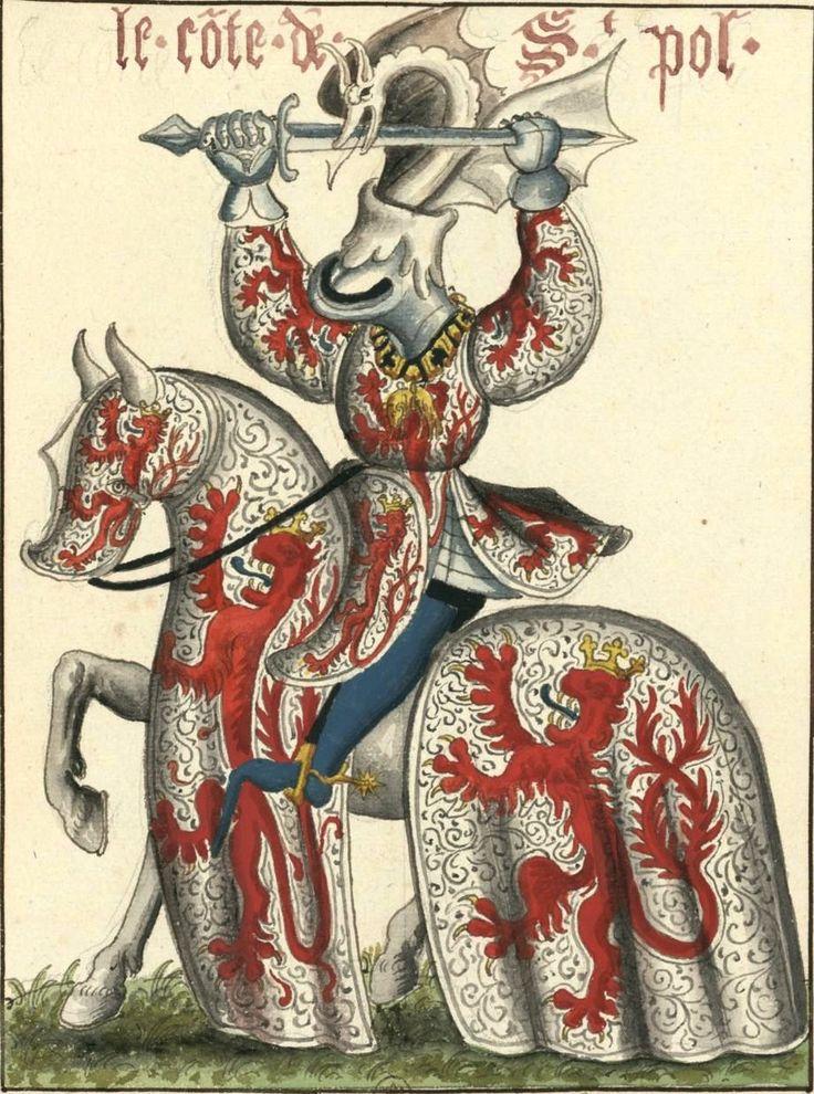 Pierre de Luxembourg, comte de Saint-Pol, chevalier de la Toison d'Or (Gaignières 1830) -- Aquarelle, Fonds Gaignières [BNF Réserve Pd-7-Fol.] -- «Le co(n)te de St Pol»: