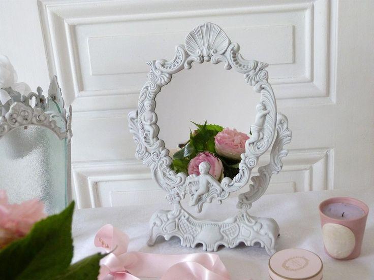 Miroir mon beau miroir psych patine gris poudre le for Miroir mon beau miroir