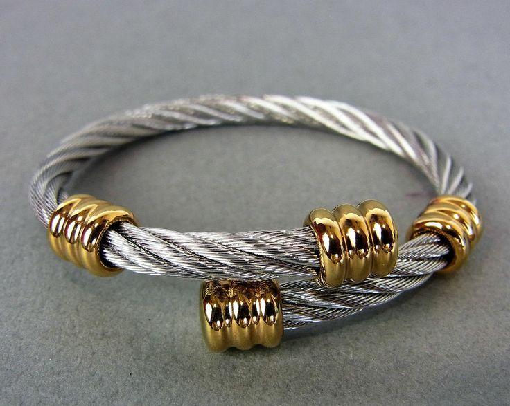 AUTHENTIC PHILIPPE CHARRIOL CELTIC SILVER & GOLD TONE DESIGN BRACELET - to see more please CLICK HERE - http://www.diamondsandgemstones.net/charriol-jewelry/