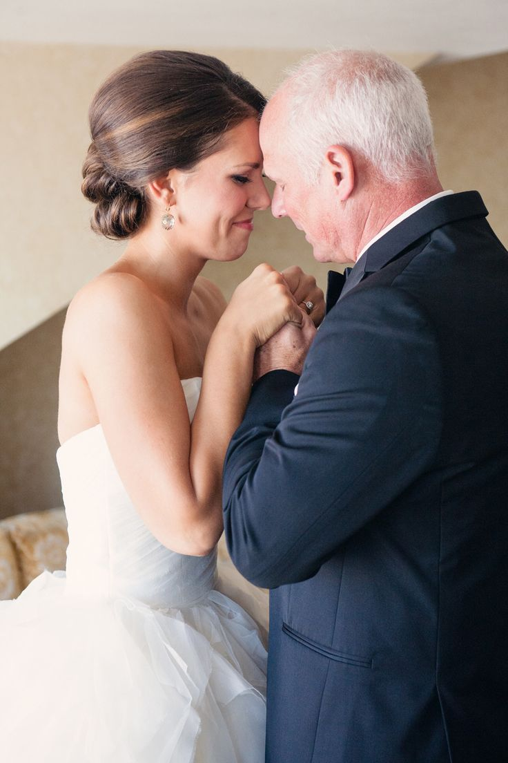 Father - Daughter Moment. Happy Tears. On http://www.StyleMePretty.com/northwest-weddings/2014/04/01/romantic-tacoma-wedding-of-high-school-sweethearts/  AlantePhotography.com