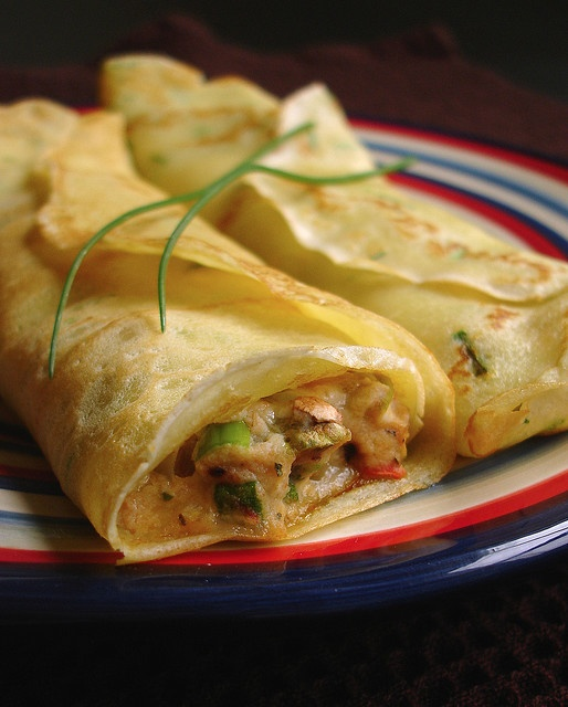 Roasted garlic, tomato & pesto crepes. maybe add some chicken to make it dinner ready.