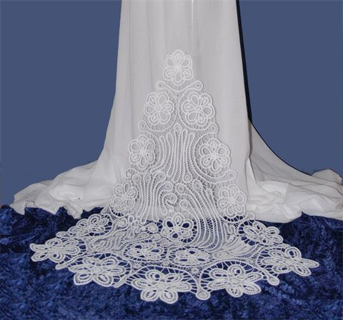 Romanian Point Lace wedding dress train