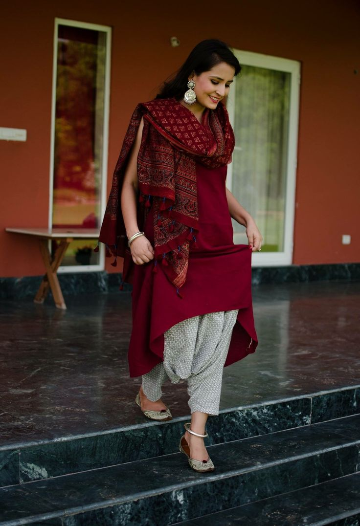 Long Kurti with white salwar and printed dupatta