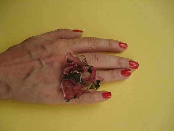 Upcycled decoupage flower ring by art2artshop on Etsy