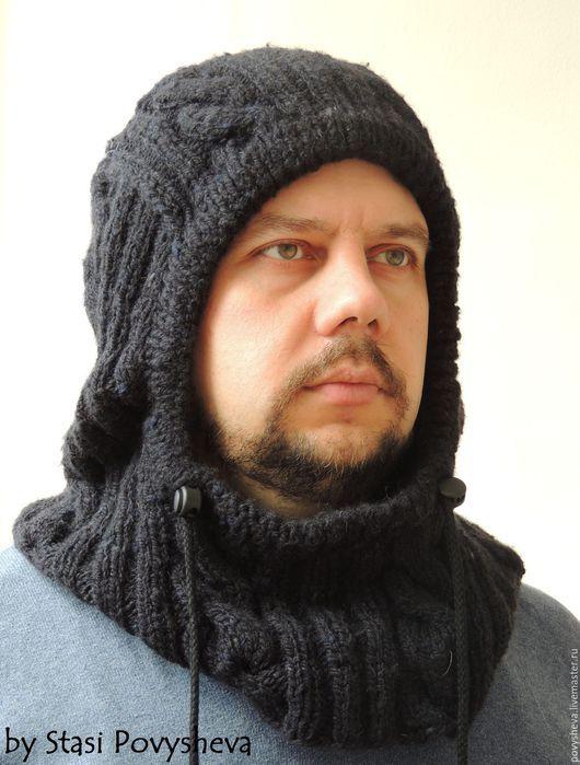 """Капюшоны ручной работы. Ярмарка Мастеров - ручная работа. Купить Снуд капюшон  """"Шлем"""" мужской вязаный. Handmade. Мужская шапка"""