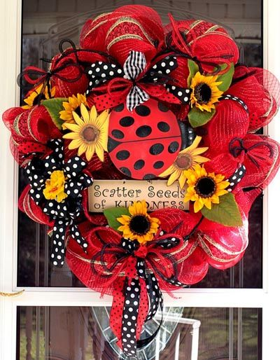 Ladybug Wreath created by Robin at WreathsEtc Etsy Shop