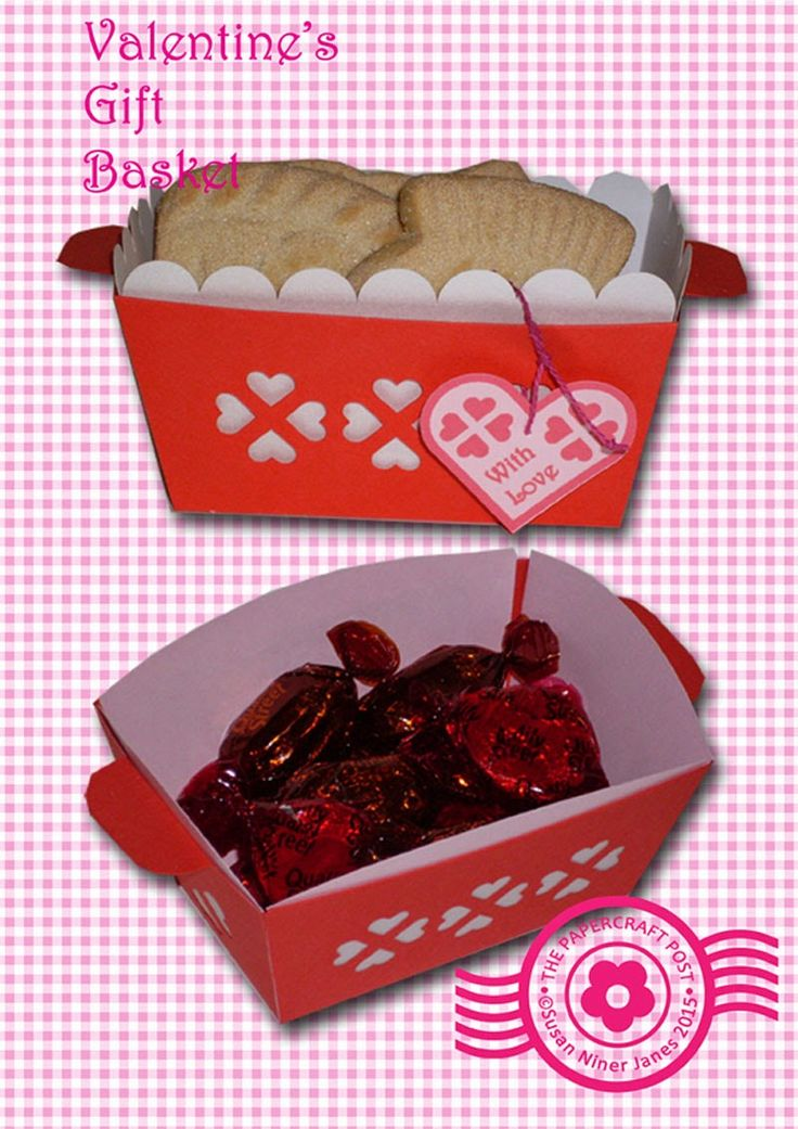 Valentine's Gift Basket. Two styles of liner. Free printables here: http://thepapercraftpost.blogspot.co.uk/2015/01/valentines-gift-basket.html