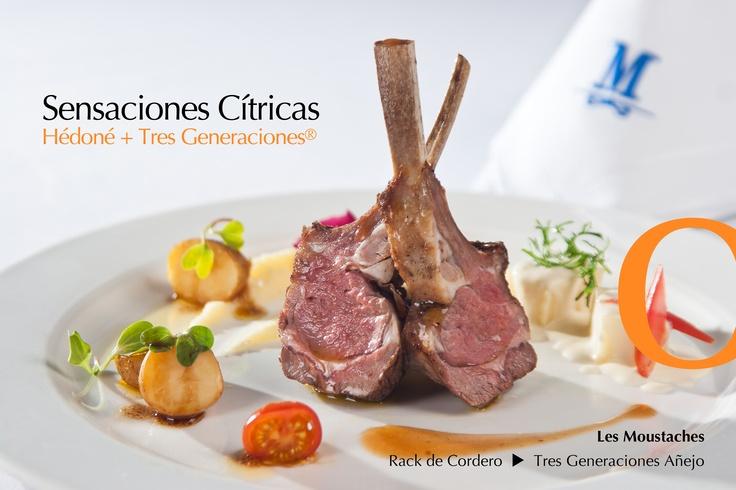 Rack de Cordero Glaseado en Naranja y Alvaravea creado por el Chef Rafael Bautista del restaurante Les Moustaches. Armonizado con el tequila Tres Generaciones Añejo y equilibrado con San Pellegrino.