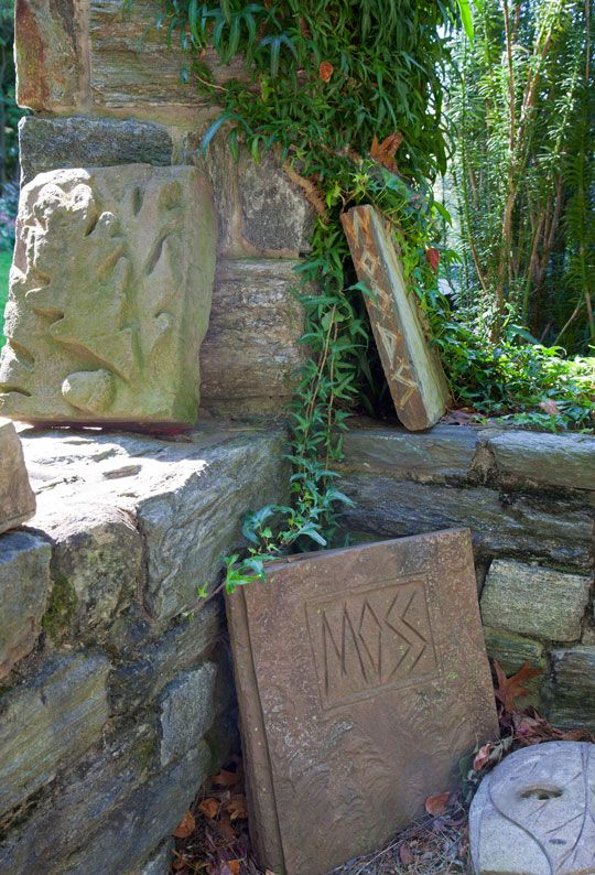 Books, carved out of stone, adorn the walls of the Ruin Garden, Chanticleer.  Photo by Lisa Roper