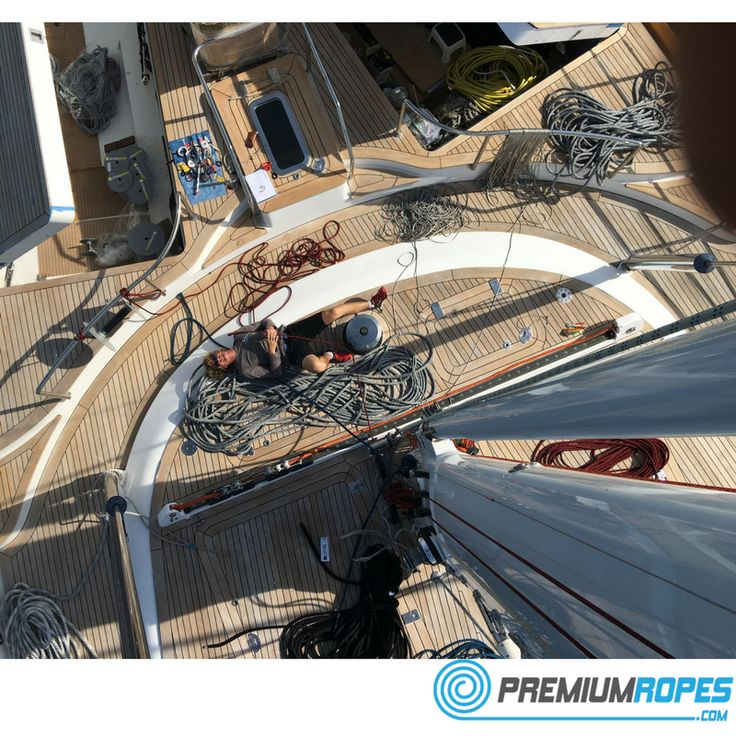 In the mast rigging ropes, below you see the other team member operating the winch with his foot #yacht #rigging #splicing #stirotex #fid #rigger #riggingservices #fitting #premiumropes #premium #dyneema #ropes #yachtrigging #rigger #international #megayacht #sailingyacht #sailing #superyacht #perininavi #vela #greement #bateau
