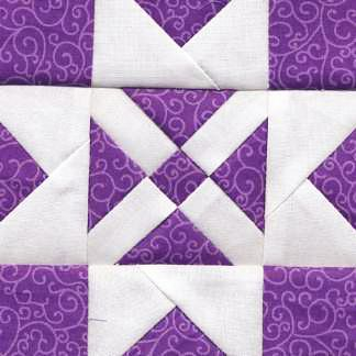 Great quilt block from the Dear Jane series - love the mix of purple and white  #patchwork #quilting