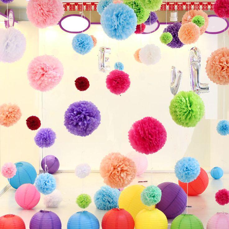 pas cher diamtre 20cm10pcslot papier artificielle pompon boules de tissu fleur pour la maison - Decoration De Maison Pdf