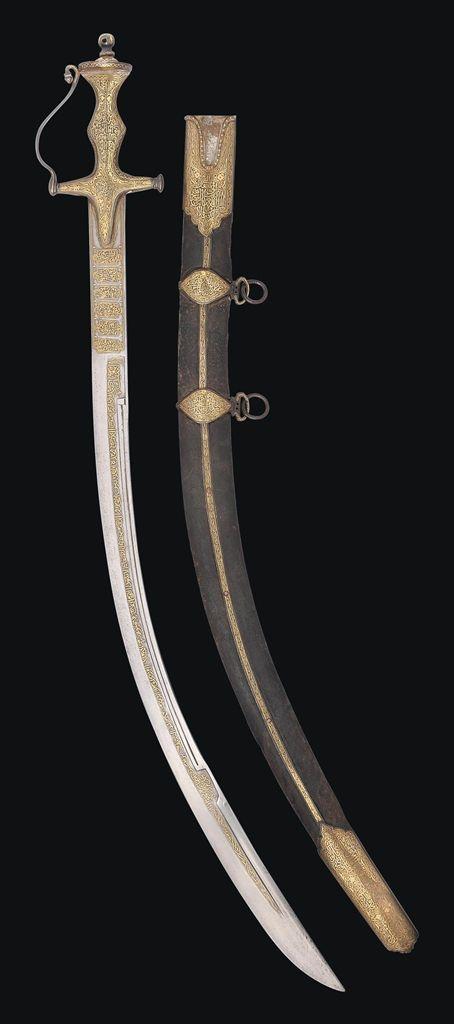 A FINE GOLD-DAMASCENED SWORD (KILIDJ) -  OTTOMAN TURKEY, 19TH CENTURY