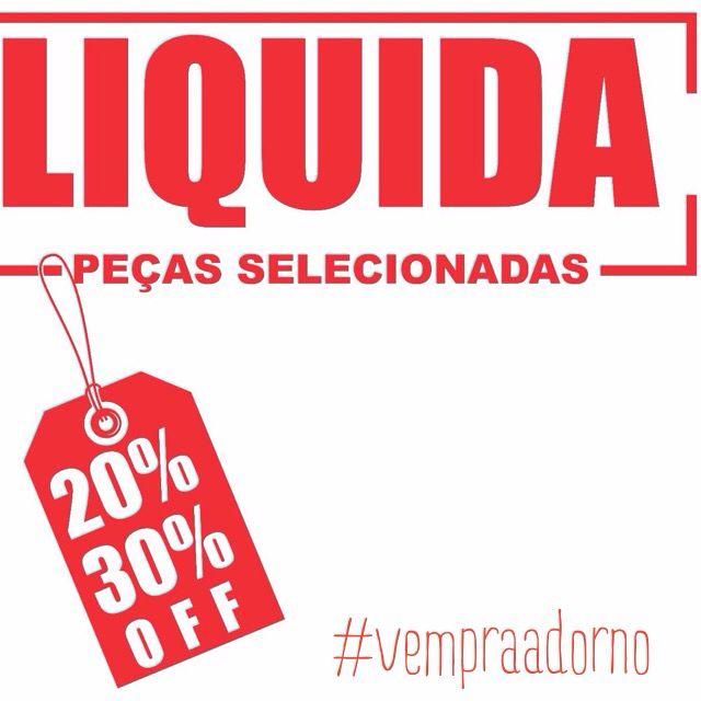 Liquida Adorno com 20% e 30% off. Vem conferir!! #sale #cidadejardim #natalshopping #praiashopping #ccabpetrópolis