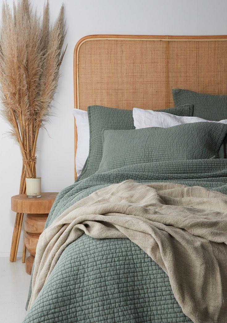 Quilted Vintage Linen/Cotton Duvet Set Super King