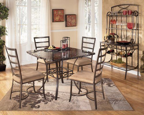 5 PC Faux Marble And Metal Dining Room Set By FurnitureMaxx 34999 Table