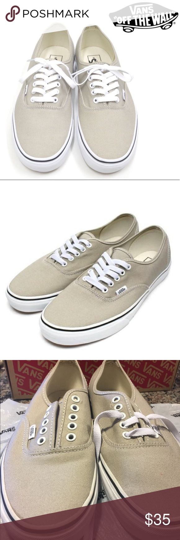 Vans Authentic Aluminum/True White shoes for sale! These vans are brand new! My little brother bought them thinking they are 10 for men when they're 10 for women!! (8.5 MEN) Please look at pictures for size and description. It comes with its original box and I don't know how to lace them but they're there lol thank you for stopping!! Vans Shoes Sneakers