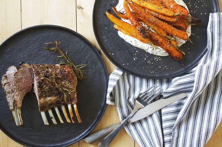 Lammekrone og ristede gulerødder i bagt ricotta