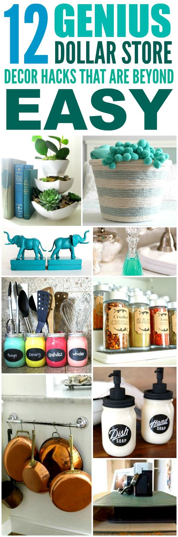These 12 Dollar Store Decor Hacks are THE BEST! I'm so happy I found these AMAZING home decor ideas and tips! Now I have great ways to decorate my home a a budget and decorate on a dime! Definitely pinning!