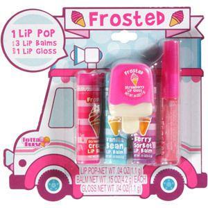 Frosted Ice Cream Truck Lip Gloss n Balm 5 Piece Set Strawberry, Strawberry Cream, Vanilla Bean, Berry Sorbet, Berries'n Cream