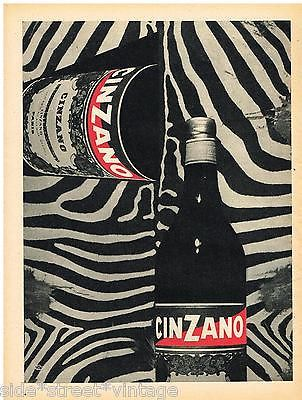 CINZANO AD MID CENTURY BAR DECOR Vintage Advertising 1950's Original ADVERT