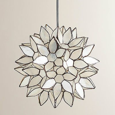 Purchased 2 of these for kitchen island. Small Elegant Capiz Shell Bronze Floral Pendant Light Chandelier Dining Room New | eBay