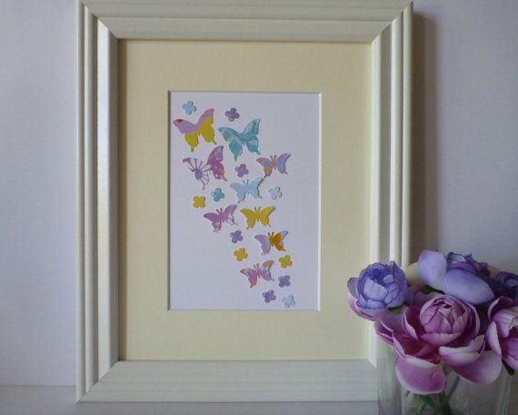 Butterfly Paper Wall Art  Colourful Purple by 1981Collective