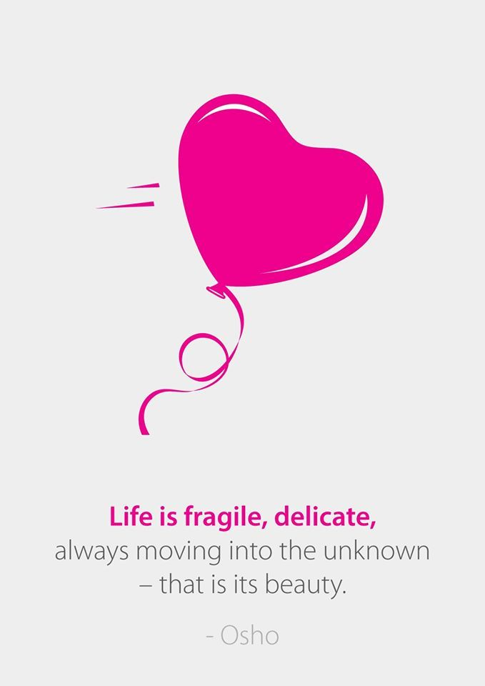 Life is fragile, delicate, always moving into the unknown