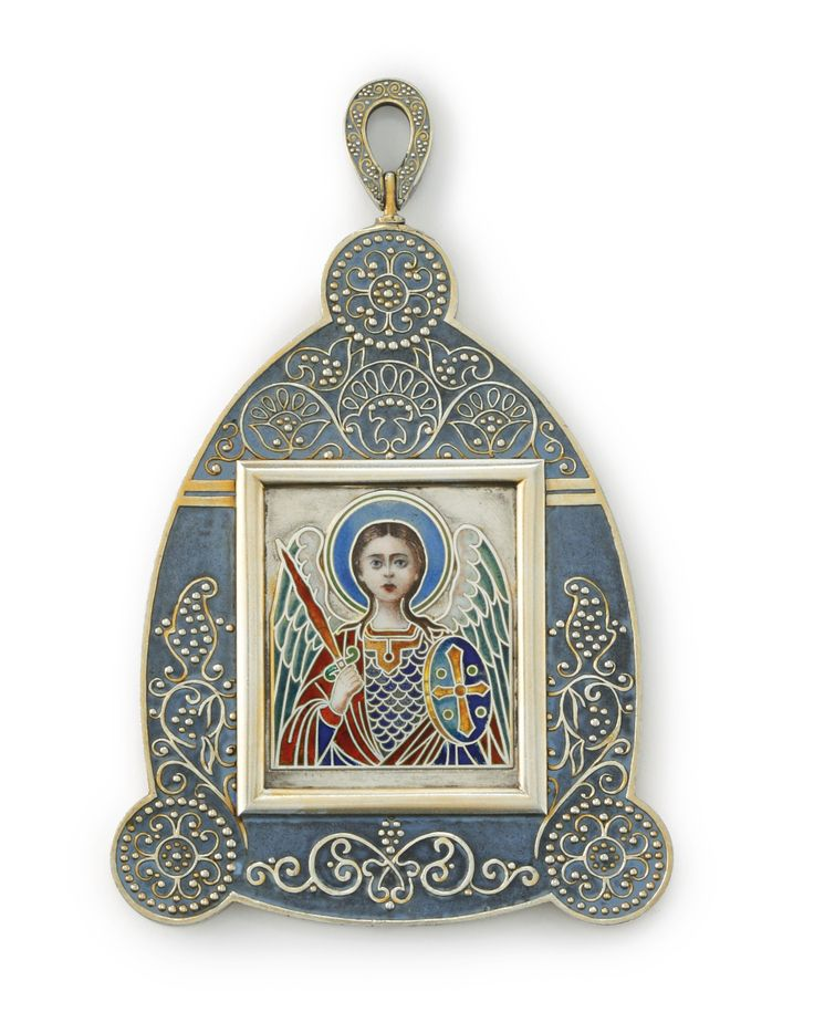 A Fabergé silver and enamel personal icon of a Guardian Angel, Moscow, 1899-1908, in the Neo-Russian style, the frame in blue matte enamel with filigree scroll and bead flowers, the face and clothing of the angel delicately rendered in painted and champlevé enamels; shown half-length holding a cross and an orb, all set against a polished gilt ground; the reverse with the prayer 'Spasi i sokhrani' in blue champlevé, with engraved Cyrillic inscription 'Christmas Eve 1909'.