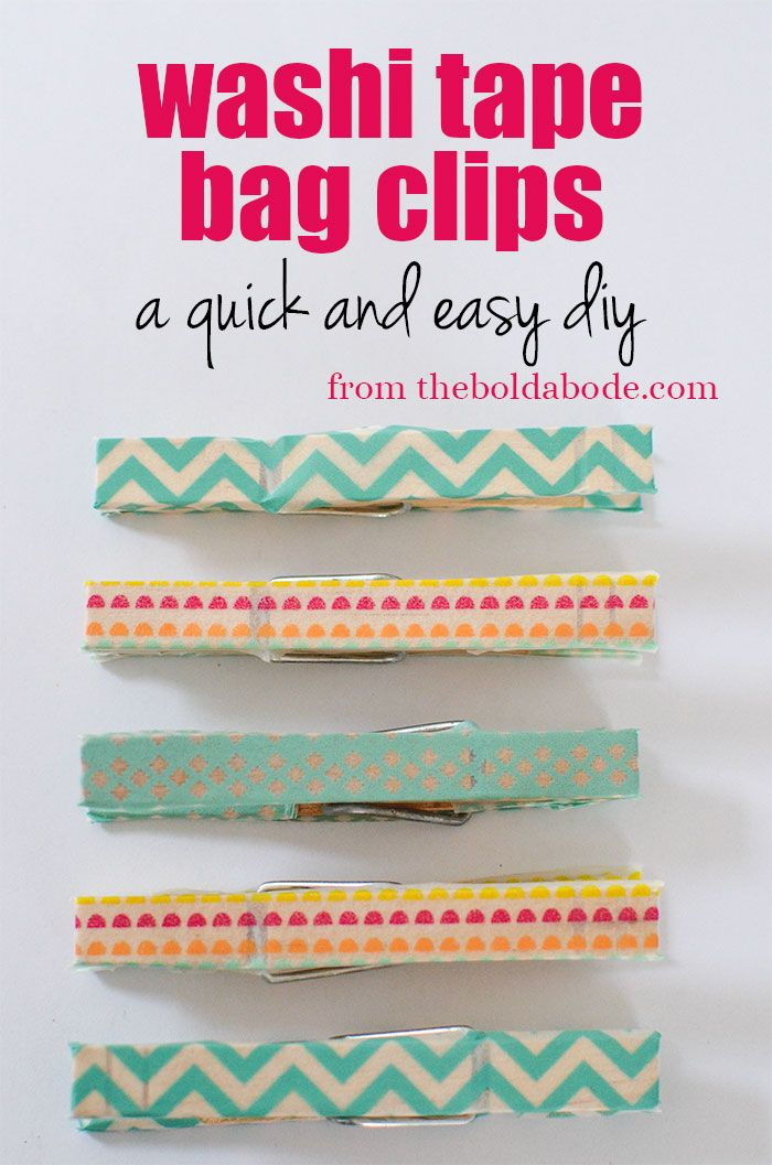Put some clothes on your clothes pins, yo.  Make these super cute Washi Tape Bag Clips from thebodlabode.com.