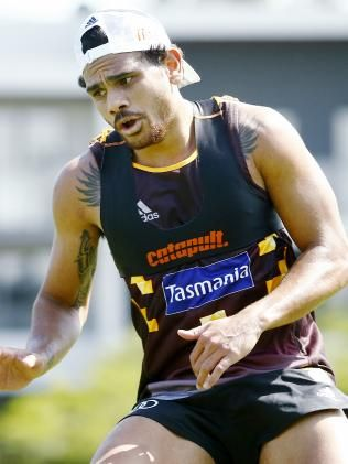 Cyril Rioli in action during pre-season training at Waverley Park.