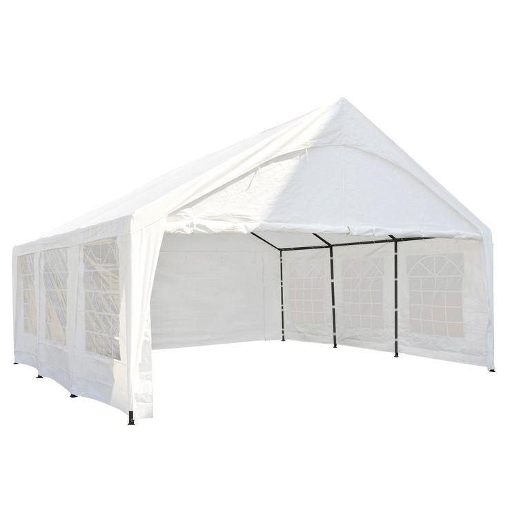 Abba Patio 20 x 20-Feet Heavy Duty Domain Carport, Car Canopy Storage with Steel Legs and Sidewalls, White